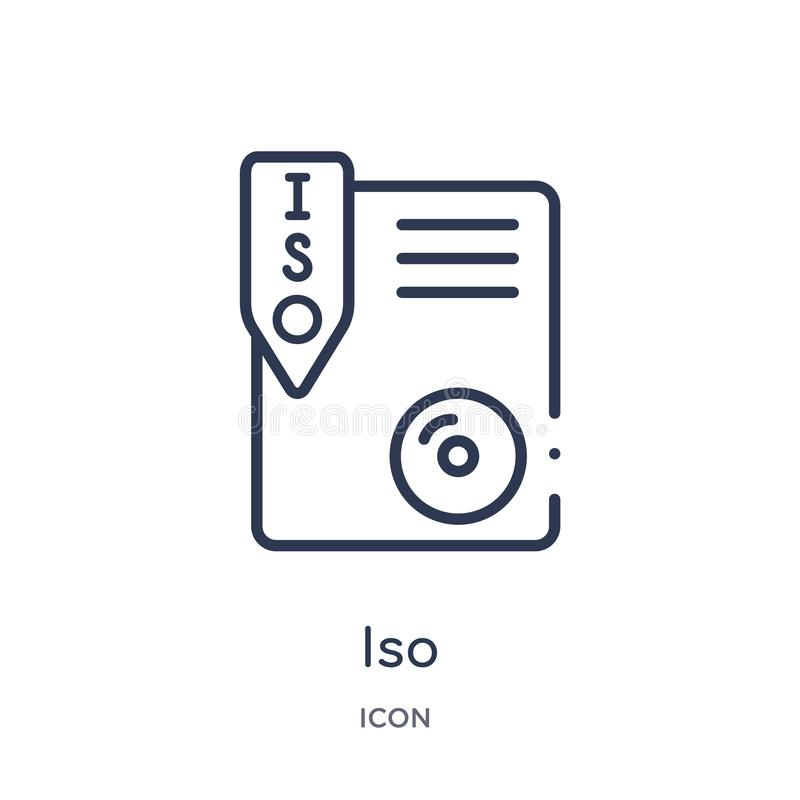 Linear iso icon from File type outline collection. Thin line iso vector isolated on white background. iso trendy illustration vector illustration