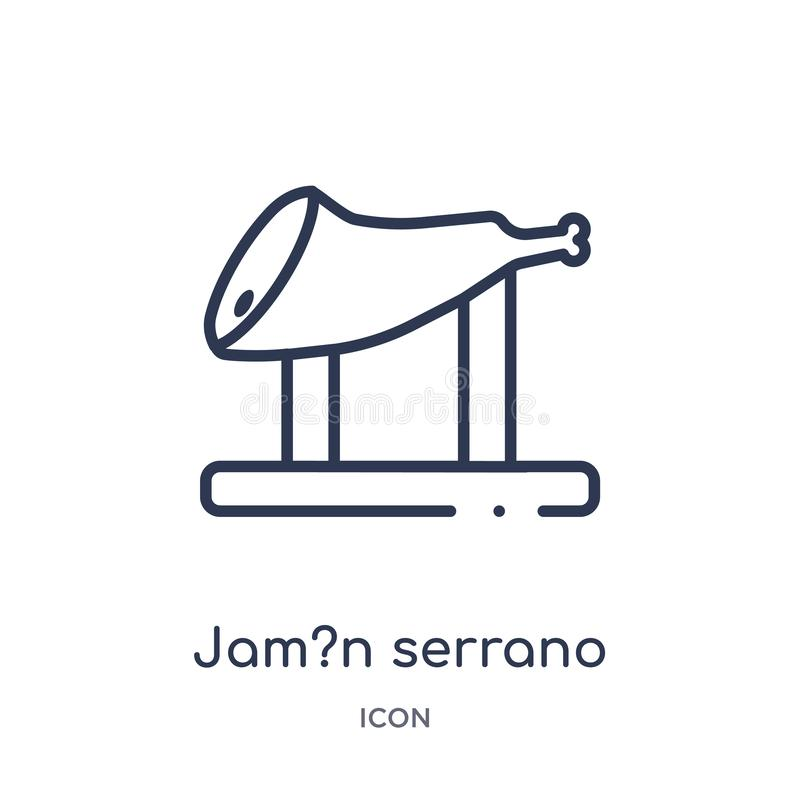 Linear jam?n serrano icon from Culture outline collection. Thin line jam?n serrano vector isolated on white background. jam?n royalty free illustration