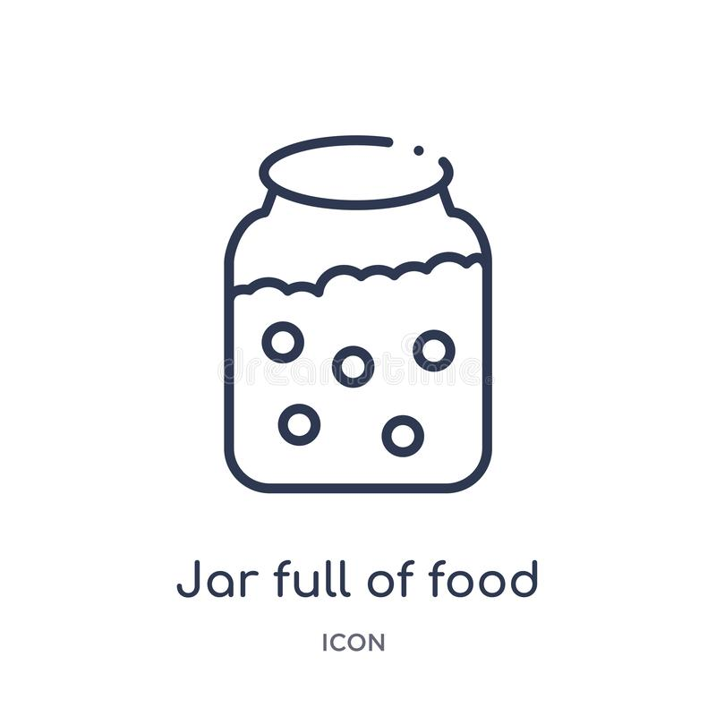 Linear jar full of food icon from Bistro and restaurant outline collection. Thin line jar full of food vector isolated on white vector illustration