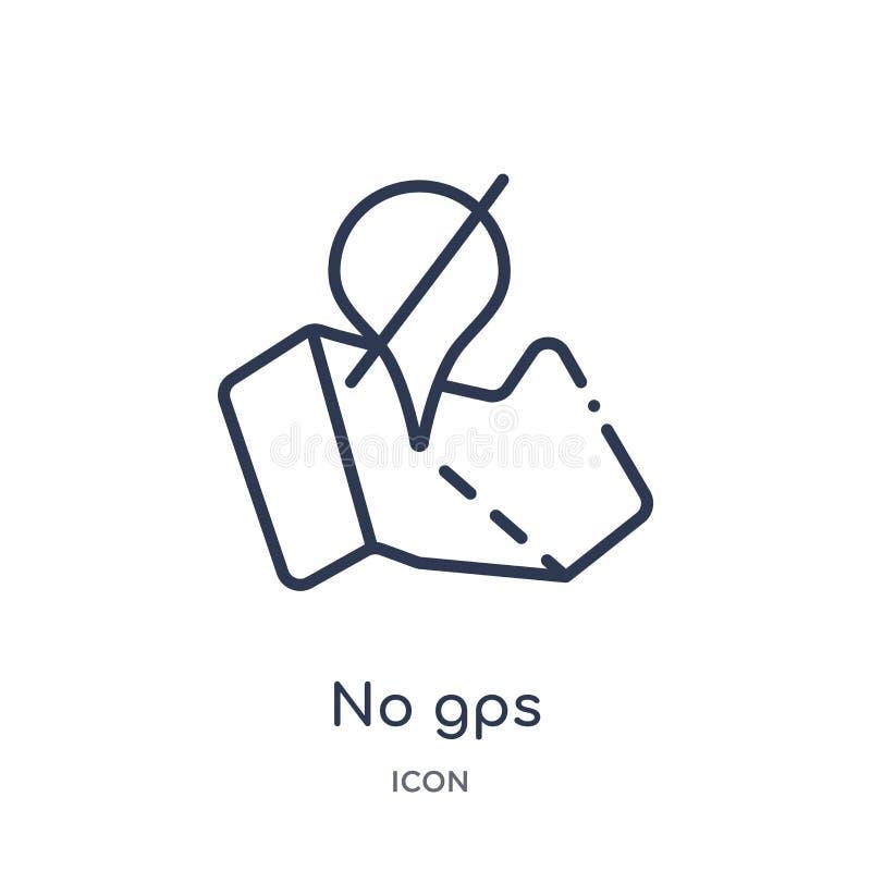 Linear keine gps-Ikone von der Karten- und Standortentwurfssammlung Dünne Linie keine gps-Ikone lokalisiert auf weißem Hintergrun lizenzfreie abbildung