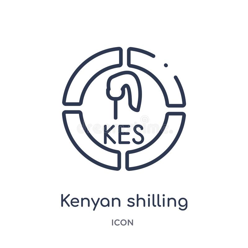 Linear kenyan shilling icon from Africa outline collection. Thin line kenyan shilling vector isolated on white background. kenyan vector illustration