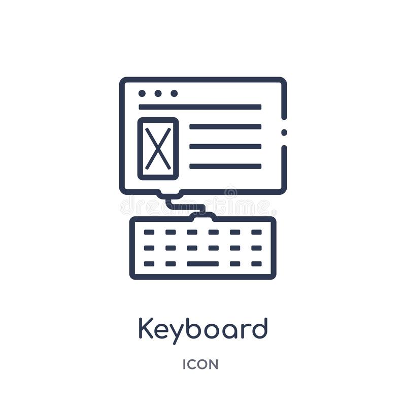 Linear keyboard icon from Blogger and influencer outline collection. Thin line keyboard vector isolated on white background. stock illustration
