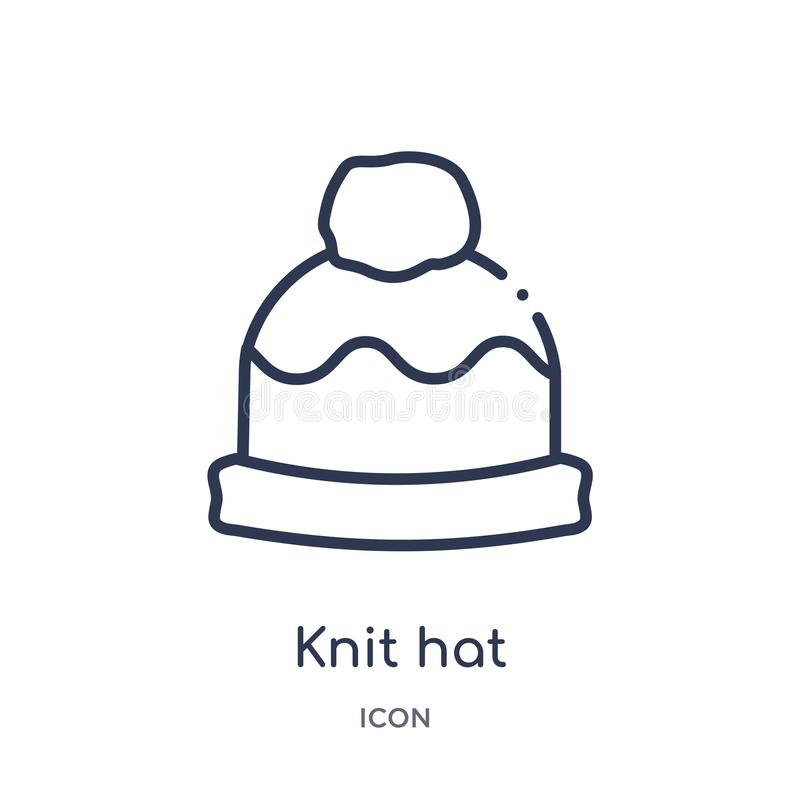 Linear knit hat icon from Fashion outline collection. Thin line knit hat icon isolated on white background. knit hat trendy stock illustration