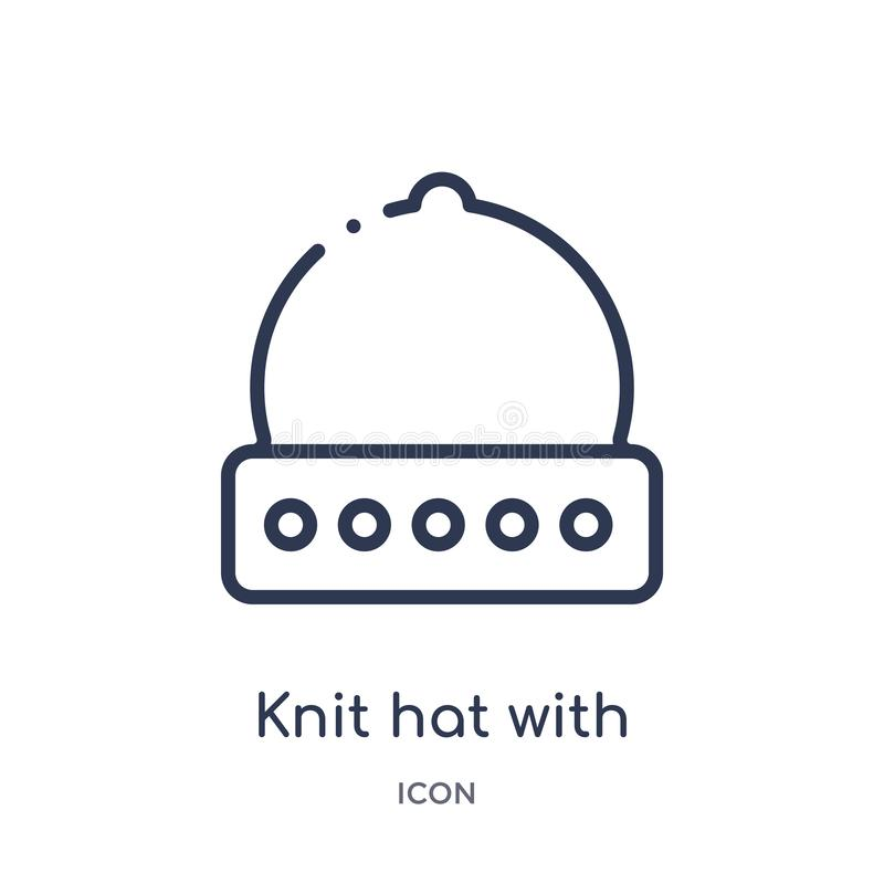Linear knit hat with pom pom icon from Clothes outline collection. Thin line knit hat with pom pom vector isolated on white royalty free illustration