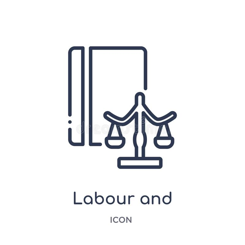 Linear labour and social law icon from Law and justice outline collection. Thin line labour and social law icon isolated on white stock illustration