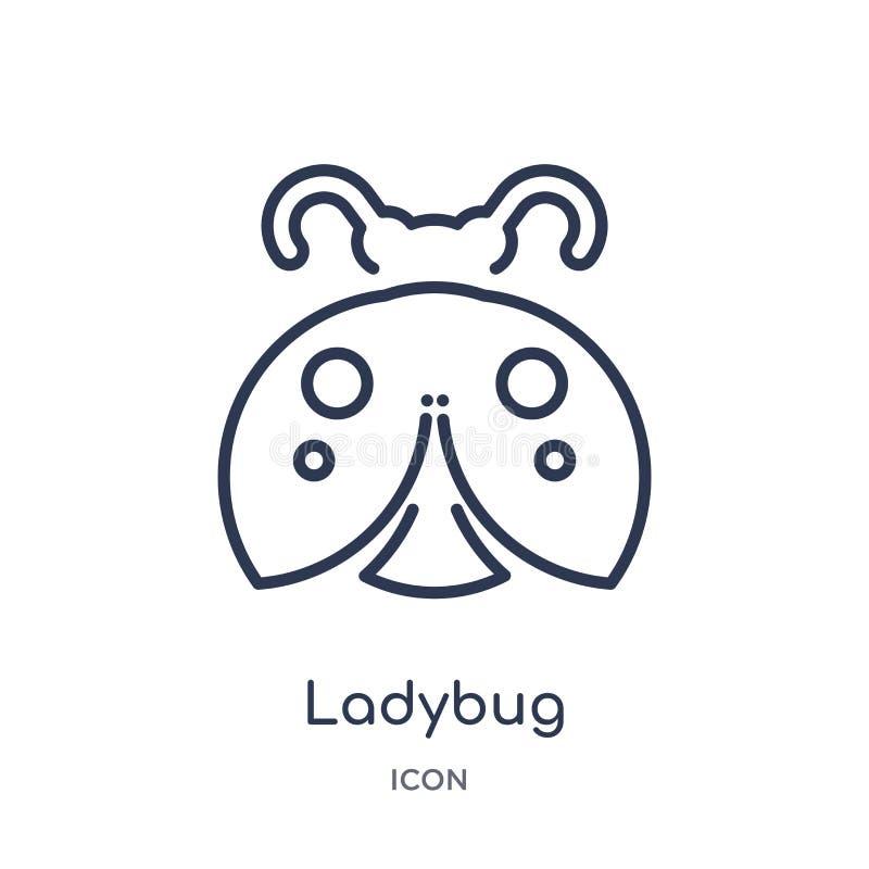 Linear ladybug icon from Animals outline collection. Thin line ladybug icon isolated on white background. ladybug trendy. Illustration royalty free illustration