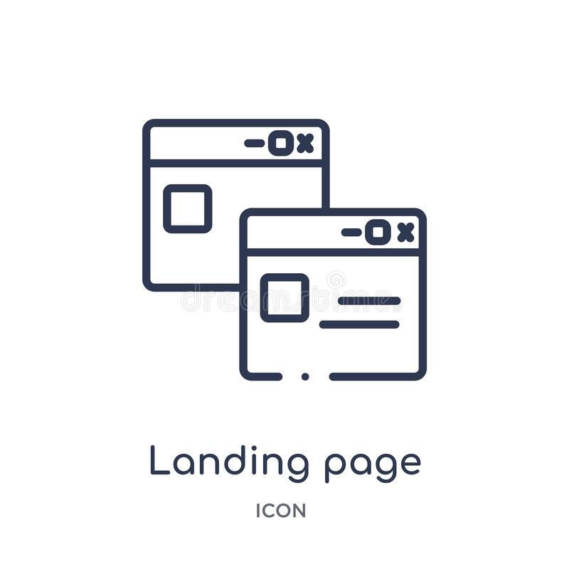 Linear landing page icon from Artifical intelligence outline collection. Thin line landing page vector isolated on white stock illustration