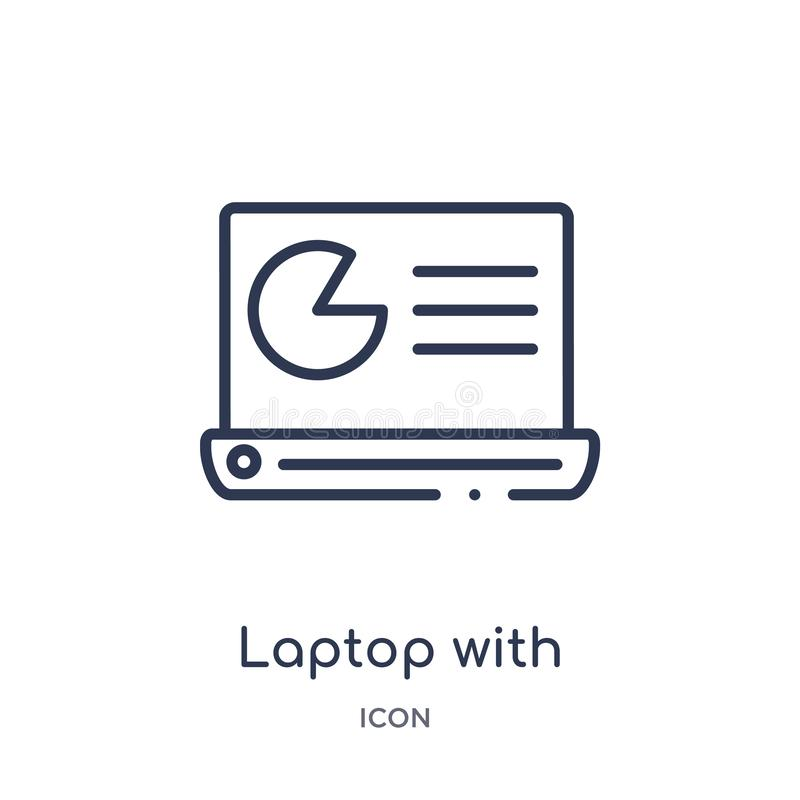 Linear laptop with analysis icon from Business and analytics outline collection. Thin line laptop with analysis vector isolated on vector illustration
