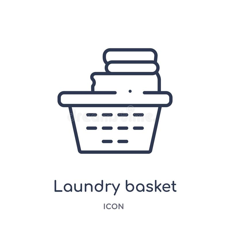 Linear laundry basket icon from Hygiene outline collection. Thin line laundry basket icon isolated on white background. laundry vector illustration