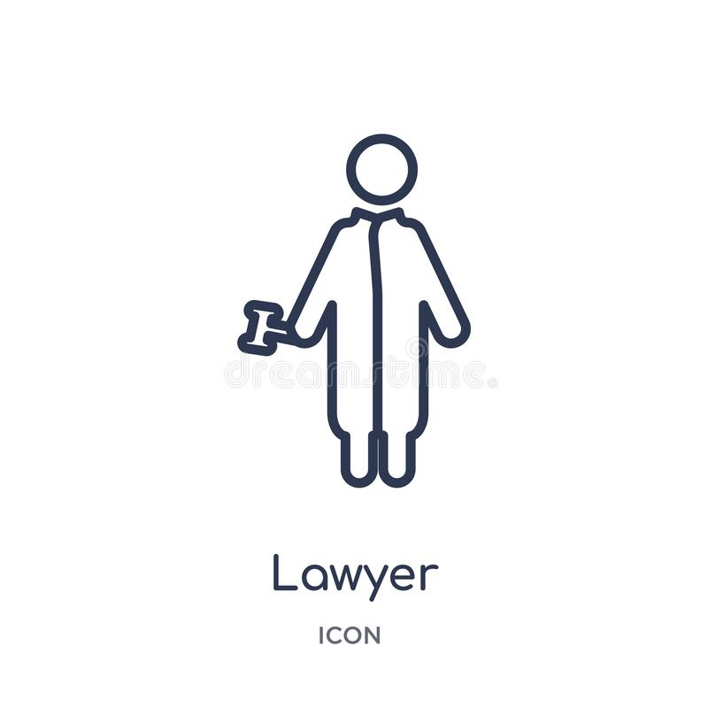 Linear lawyer icon from Job profits outline collection. Thin line lawyer icon isolated on white background. lawyer trendy vector illustration