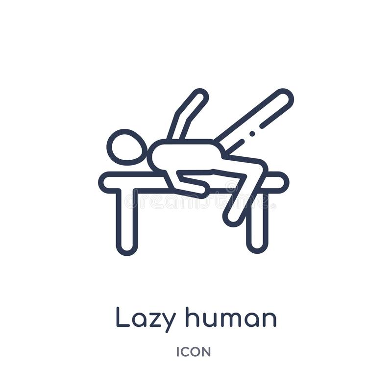 Linear lazy human icon from Feelings outline collection. Thin line lazy human vector isolated on white background. lazy human royalty free illustration
