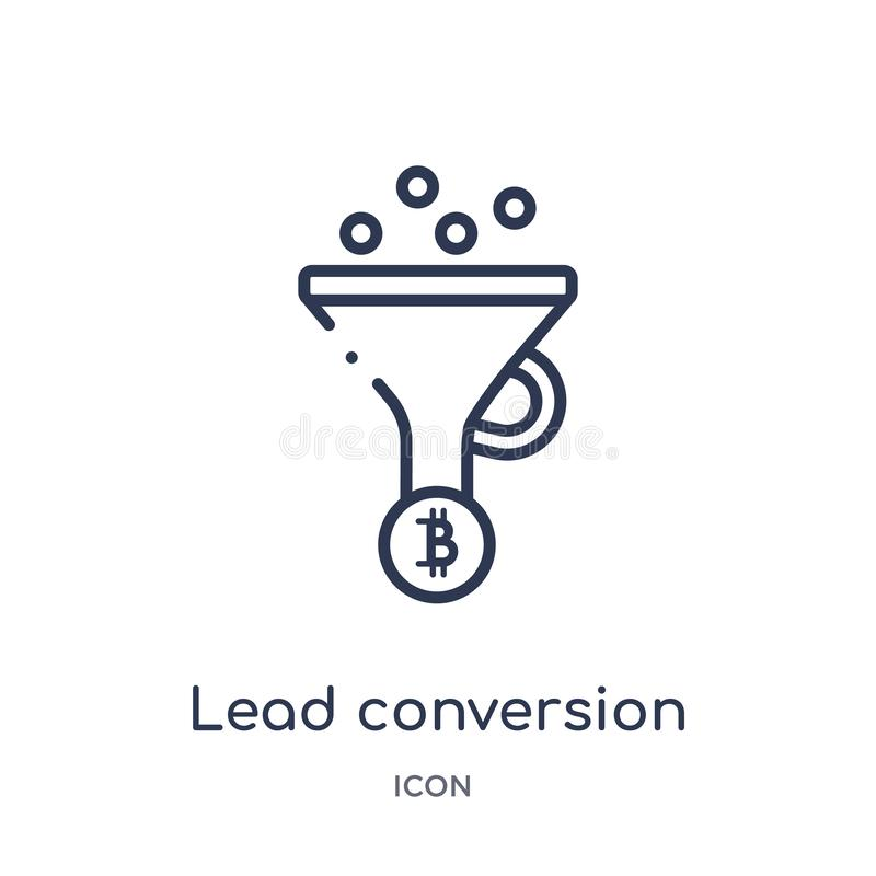 Linear lead conversion icon from General outline collection. Thin line lead conversion icon isolated on white background. lead stock illustration
