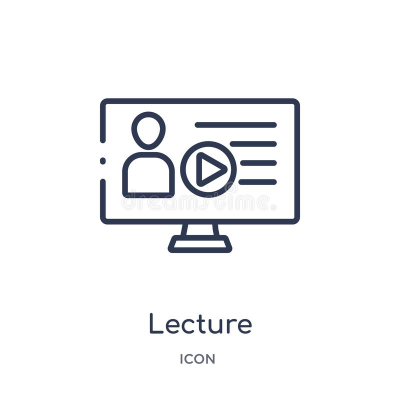 Linear lecture icon from Elearning and education outline collection. Thin line lecture vector isolated on white background. stock illustration