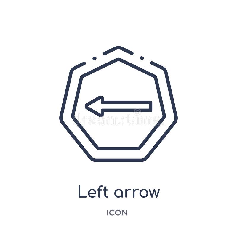 Linear left arrow icon from Arrows outline collection. Thin line left arrow vector isolated on white background. left arrow trendy stock illustration
