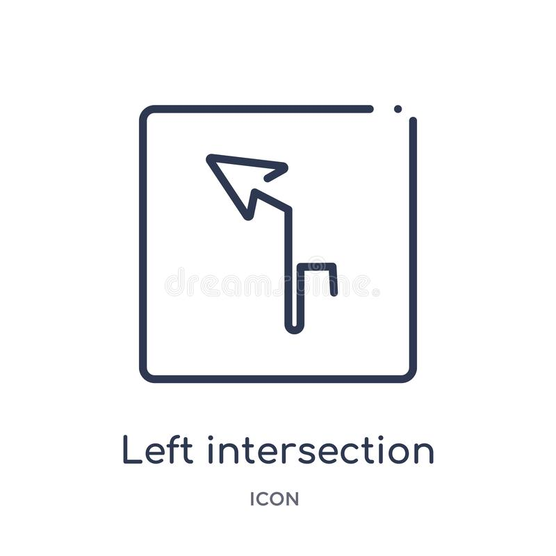 Linear left intersection icon from Maps and Flags outline collection. Thin line left intersection icon isolated on white royalty free illustration