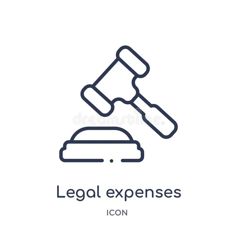 Linear legal expenses icon from Insurance outline collection. Thin line legal expenses icon isolated on white background. legal royalty free illustration