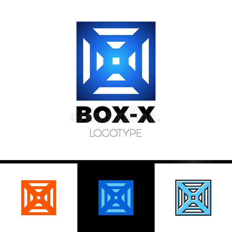 Linear letter X logo monogram in box or cube. Simple sport logotype symbol. Blue gradient and black outline color royalty free illustration