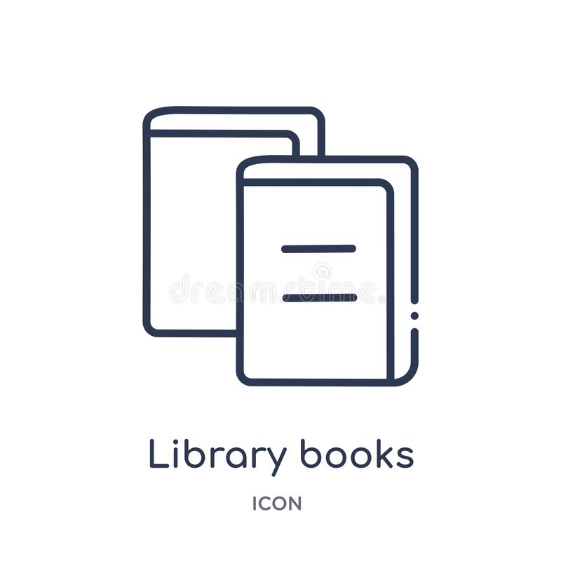 Linear library books icon from Education outline collection. Thin line library books icon isolated on white background. library royalty free illustration