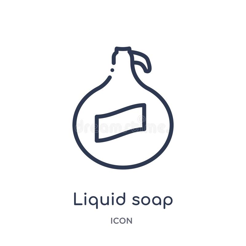 Linear liquid soap icon from Kitchen outline collection. Thin line liquid soap icon isolated on white background. liquid soap. Trendy illustration stock illustration