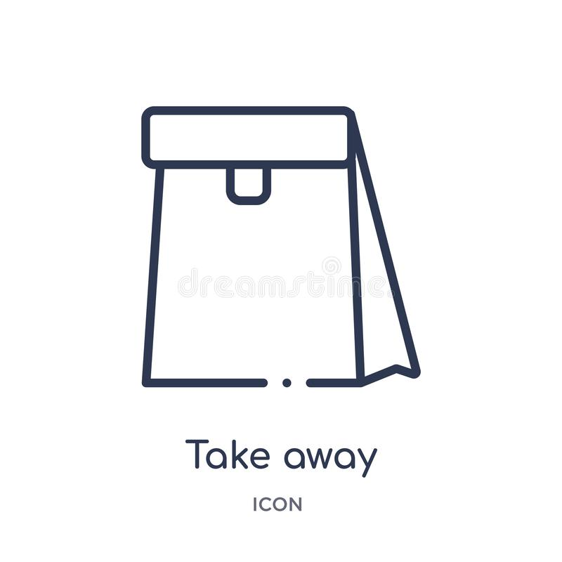 Linear llévese el icono de la colección del esquema de la comida rápida La línea fina se lleva vector aislada en el fondo blanco  stock de ilustración