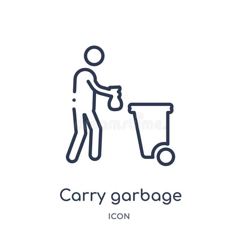 Linear lleve el icono de la basura de la colección del esquema del comportamiento La línea fina lleva vector de la basura aislada stock de ilustración