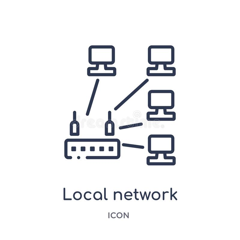 Linear local network icon from Internet security and networking outline collection. Thin line local network icon isolated on white stock illustration