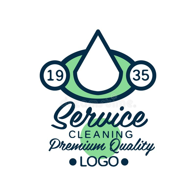 Linear logo design for house cleaning service or car wash company. Icon with white water drop in green ellipse. Flat royalty free illustration