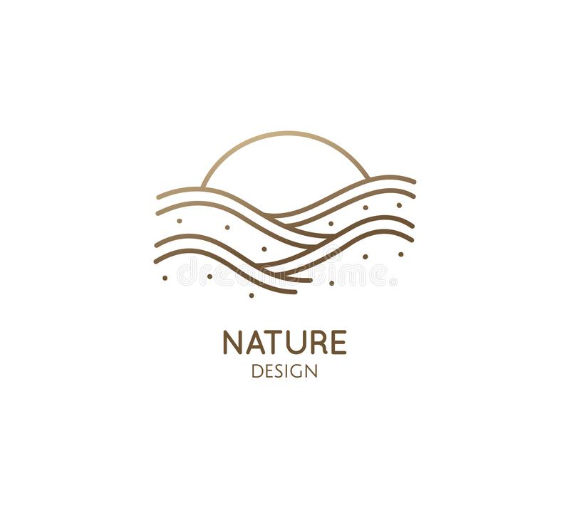 Linear logo sea waves. Sunset linear logo on white background . Vector sunrise icon, summer symbol. Water icon, sea waves for concept design - for a travel stock illustration