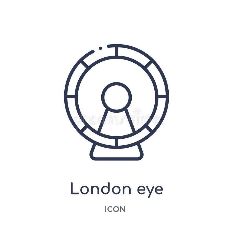 Linear london eye icon from Buildings outline collection. Thin line london eye vector isolated on white background. london eye vector illustration