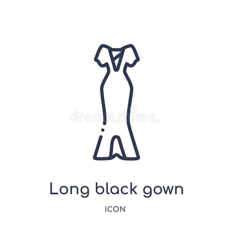 Linear long black gown icon from Fashion outline collection. Thin line long black gown icon isolated on white background. long vector illustration