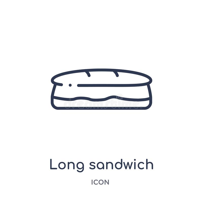 Linear long sandwich icon from Bistro and restaurant outline collection. Thin line long sandwich vector isolated on white stock illustration