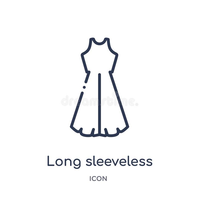 Linear long sleeveless dress icon from Clothes outline collection. Thin line long sleeveless dress vector isolated on white stock illustration