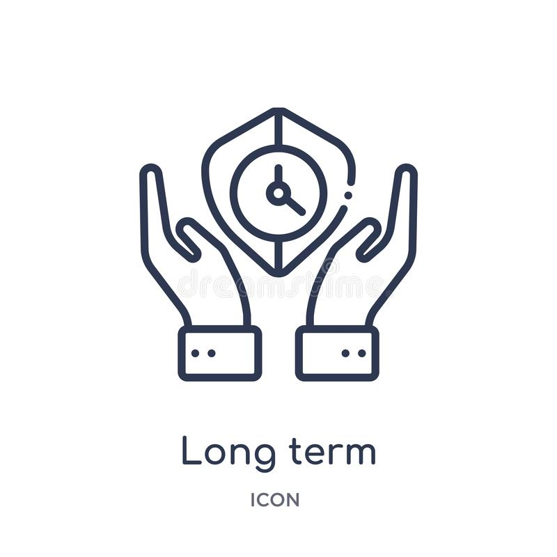 Linear long term protection icon from Insurance outline collection. Thin line long term protection icon isolated on white stock illustration