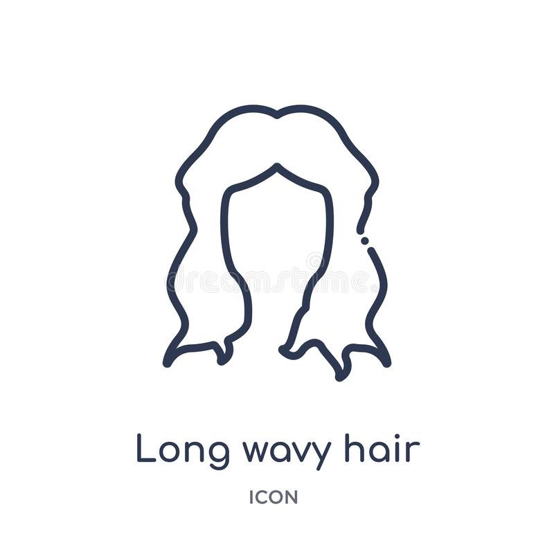 Linear long wavy hair variant icon from Human body parts outline collection. Thin line long wavy hair variant icon isolated on royalty free illustration