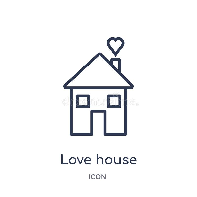 Linear love house icon from Birthday party outline collection. Thin line love house vector isolated on white background. love vector illustration