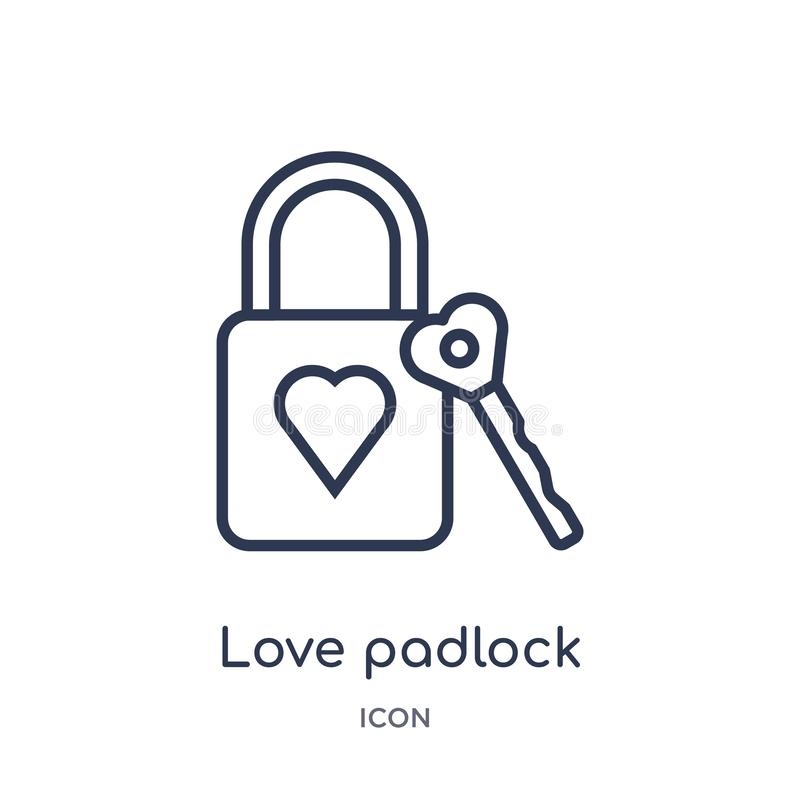 Linear love padlock icon from Birthday party outline collection. Thin line love padlock vector isolated on white background. love vector illustration