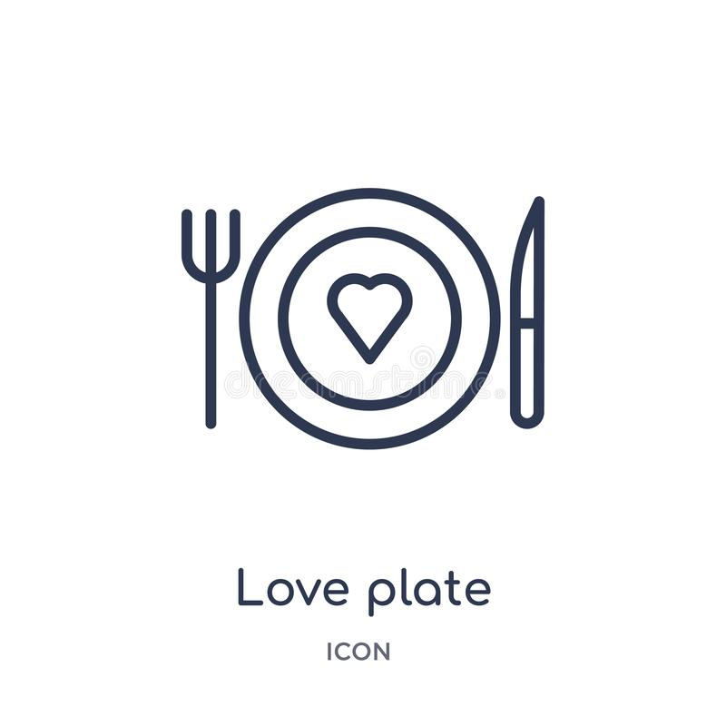 Linear love plate icon from Birthday party outline collection. Thin line love plate vector isolated on white background. love stock illustration