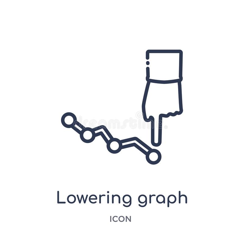 Linear lowering graph icon from Marketing outline collection. Thin line lowering graph icon isolated on white background. lowering stock illustration