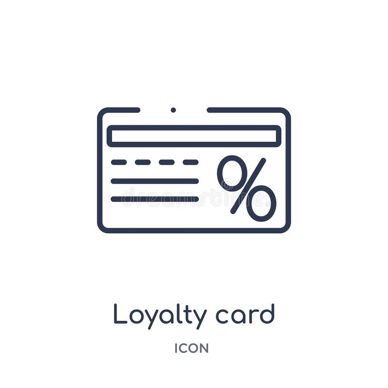 Linear loyalty card icon from Ecommerce and payment outline collection. Thin line loyalty card vector isolated on white background royalty free illustration