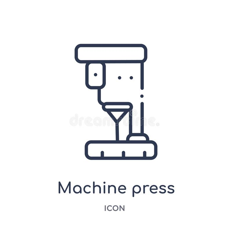 Linear machine press icon from Industry outline collection. Thin line machine press icon isolated on white background. machine royalty free illustration