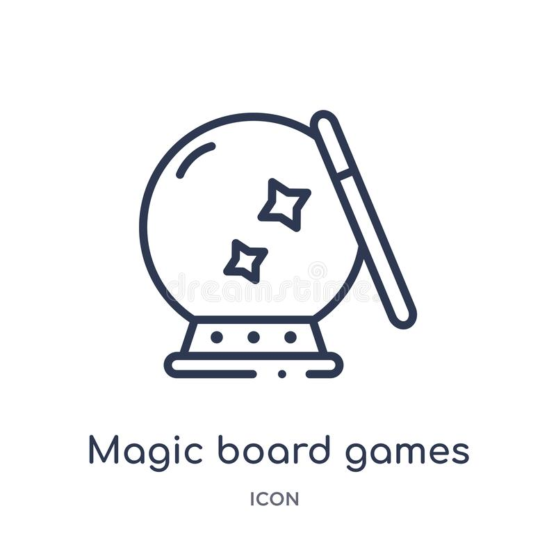 Linear magic board games icon from Entertainment outline collection. Thin line magic board games icon isolated on white background. Magic board games trendy vector illustration