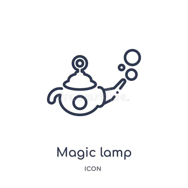 Linear magic lamp icon from Magic outline collection. Thin line magic lamp icon isolated on white background. magic lamp trendy stock illustration