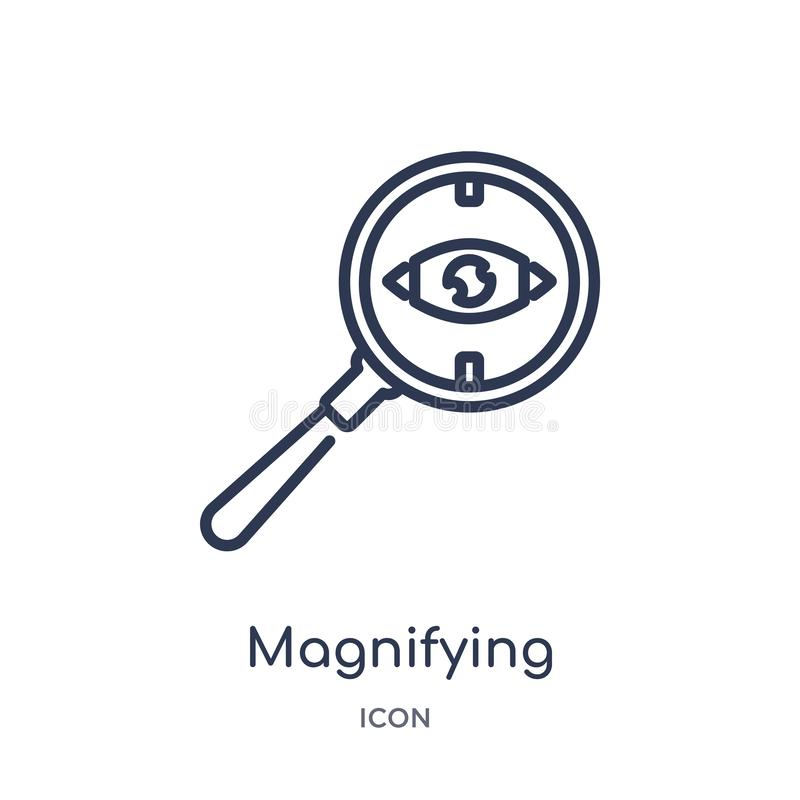 Linear magnifying glass searcher icon from General outline collection. Thin line magnifying glass searcher icon isolated on white royalty free illustration