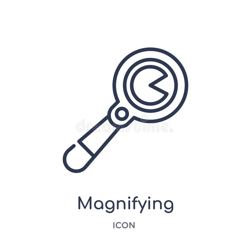 Linear magnifying glass with worms icon from General outline collection. Thin line magnifying glass with worms icon isolated on royalty free illustration
