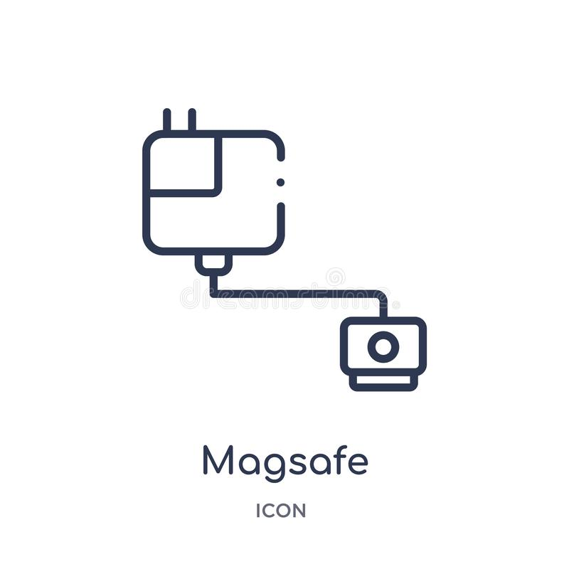 Linear magsafe icon from Electronic devices outline collection. Thin line magsafe vector isolated on white background. magsafe. Trendy illustration stock illustration