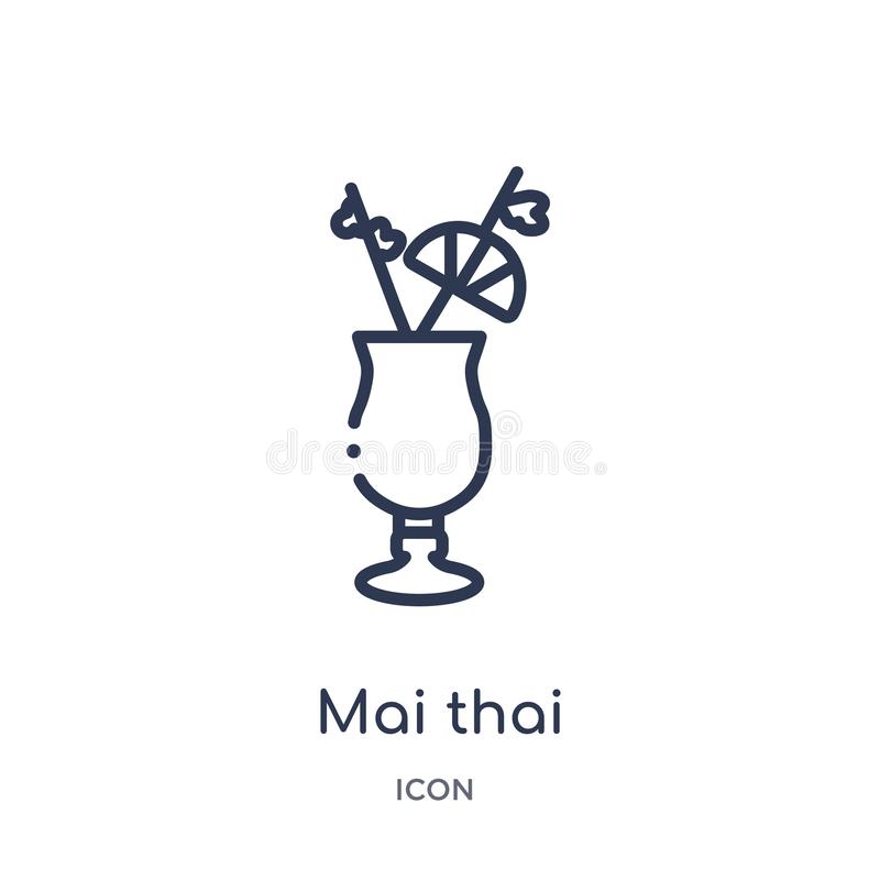 Linear mai thai icon from Drinks outline collection. Thin line mai thai vector isolated on white background. mai thai trendy vector illustration