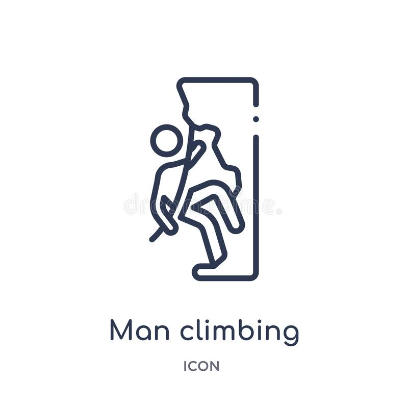 Linear man climbing icon from Behavior outline collection. Thin line man climbing vector isolated on white background. man royalty free illustration