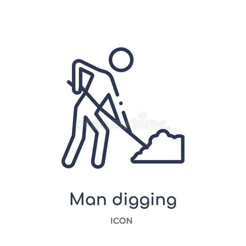 Linear man digging icon from Behavior outline collection. Thin line man digging vector isolated on white background. man digging royalty free illustration