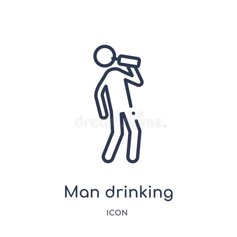 Free Linear Man Drinking Icon From Behavior Outline Collection. Thin Line Man Drinking Vector Isolated On White Background. Man Royalty Free Stock Photos - 140049278
