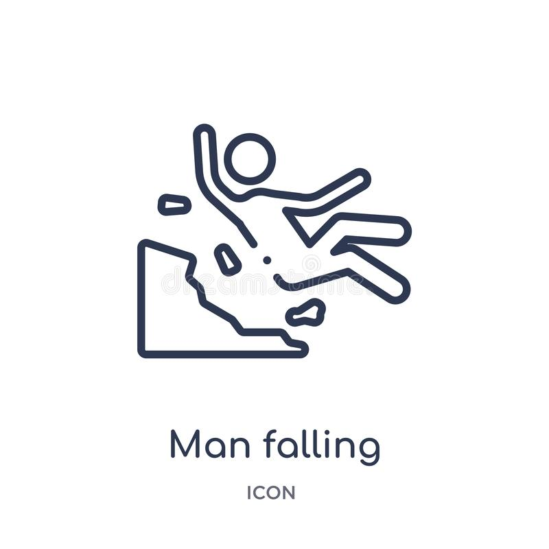 Linear man falling icon from Behavior outline collection. Thin line man falling vector isolated on white background. man falling vector illustration